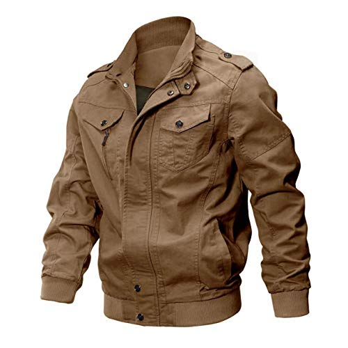 Men's Fall Cotton Casual Windbreaker Military Air Force Coat Bomber Cargo Jackets Outdoor(#66 Khaki-US Large