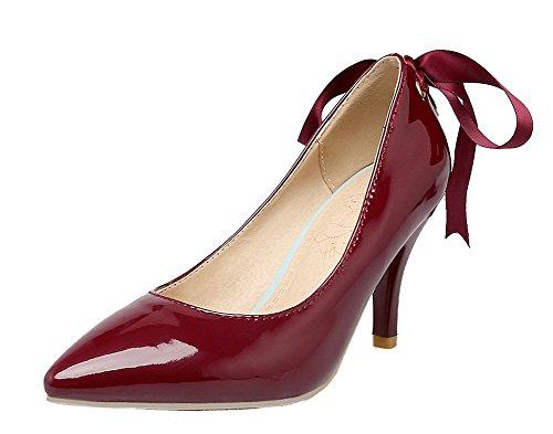 AllhqFashion Damen Hoher Absatz Lackleder Rein Ziehen auf Spitz Zehe Pumps Schuhe Weinrot