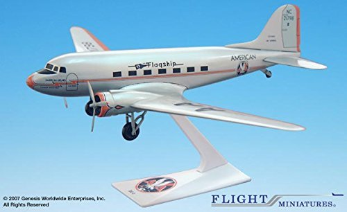American Flagship Knoxville DC-3 Airplane Miniature Model Plastic Snap Fit 1:200 Part# ADC-00300C-004 Eagle Group Snap