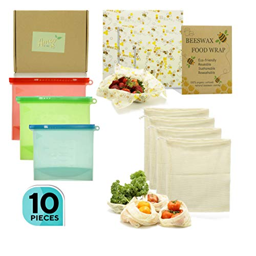 Amoo and Me 10-Piece Reusable Food Storage Set - Organic Beeswax Wraps, Silicone Sandwich, Snack and Lunch Bags, Zero-Waste Mesh Produce Bag - 100% Natural Eco-Friendly Large and Small Food Containers