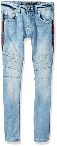 Southpole Big Boys' Stretch Flex Destructed Fashion Denim Pants, Light Sand Blue/Color Taupe, 16 by Southpole