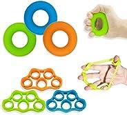 Hand Grip Strengthener, Finger Exerciser, Grip Strength Trainer (6 PCS)*New Material*Forearm Grip Workout, Fin