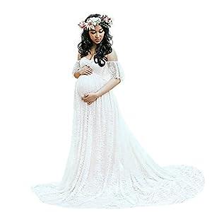 Sothread Photography Maternity Dress Off Shoulder Lace Long Dress Pregnant Wedding Dress (XL)