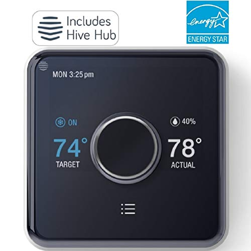 Hive Heating and Cooling Smart Thermostat Pack, Thermostat + Hive Hub, Works with Alexa & Google Home, Requires C-Wire (Best Place For Central Heating Thermostat)