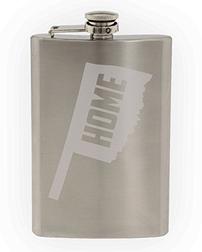 State of Oklahoma Home State Etched 8oz Stainless Steel Flask]()