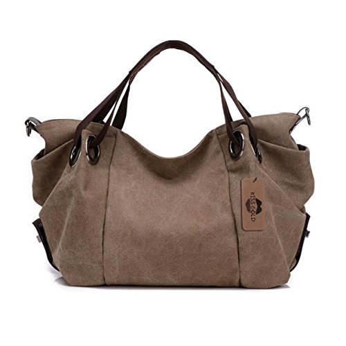 KISS GOLD(TM) Women's Canvas Hobo Top-handle Bag Crossbody Shoulder Bag, European Style, Large Size 16