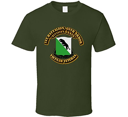 SMALL - 1st Battalion, 69th Armor (Division Armor) without SVC Ribbon T Shirt - Military Green