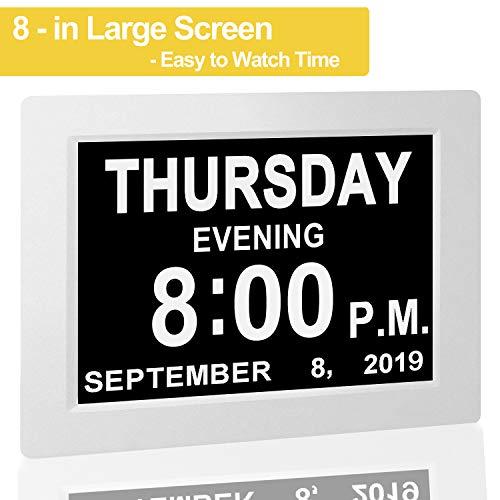 【Upgraded】Digital Calendar Alarm Day Clock - with 8