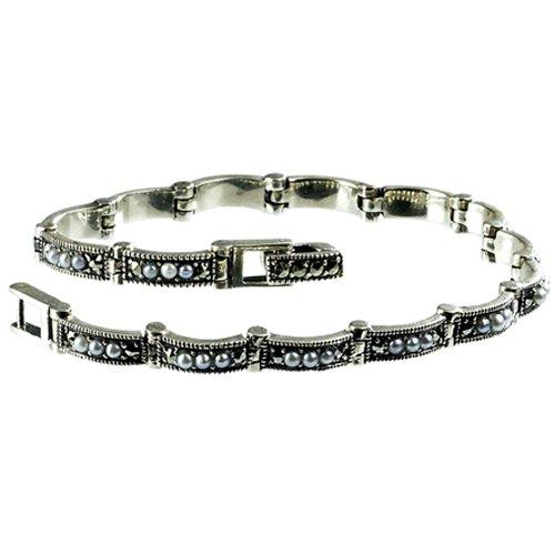 Crescent Link Cultured Seed Pearl Sterling Silver Bracelet (6.5