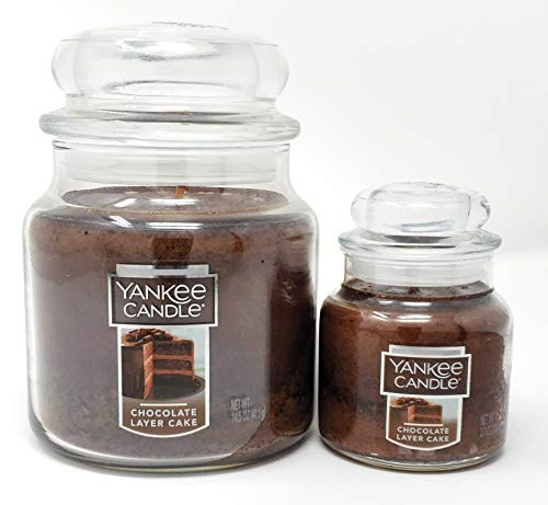 Chocolate Layer Cake Scented Medium Classic Jar Candle and Small Classic Jar Candle - 2 Piece -
