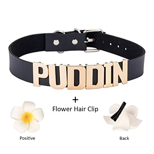 Chic Adjustable High Neck White Black and Gold Puddin Choker Necklace Collar for Women and Girls Kids Can Play Game Fashion Accessories (About 2.2 cm Width)