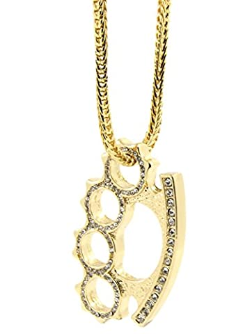 Mens Gold Plated Iced Out Hip Hop Brass Knuckles Pendant 36
