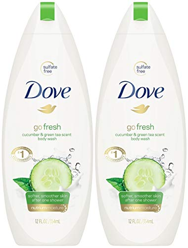 Dove Body Wash 12 Ounce Go Fresh Cucumber & Green Tea (354ml) (2 Pack)