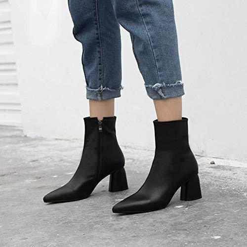 couleur À Chaussures mollet Bottes Taille Une Mi Femmes Cuir Pointus B D'hiver Chaudes Talons Formelles Xyh En 34 f0AOzwxqA