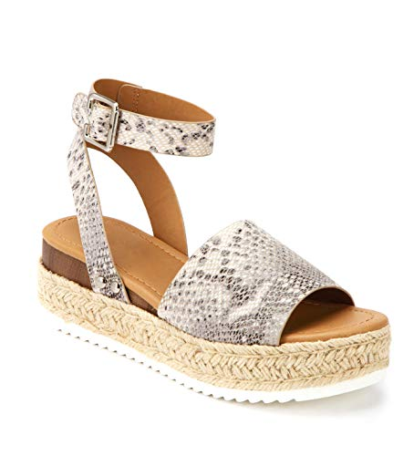 SODA Topic Casual Espadrilles Trim Rubber Sole Flatform Studded Wedge Buckle Ankle Strap Open Toe Sandal (6.5, Snake Gray) ()