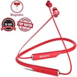 Magnetic Earphones Bluetooth Wireless V4.2 Comfy and Sweatproof ONKEE Earbuds I HiFi Stereo 15 Hrs Playback Headset I Cell & Tablets, Sports, Travel & TV Headphones with Noise Cancelling Mic (RED)