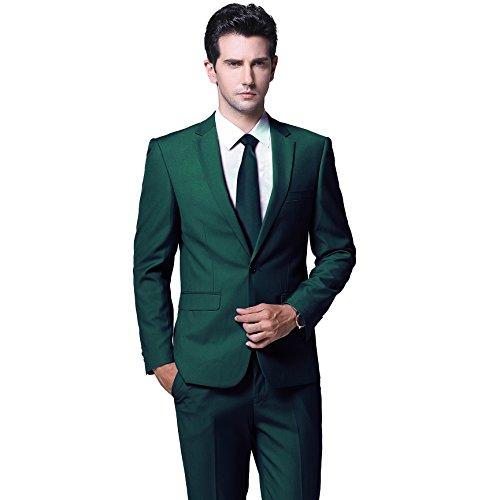 Mens One Button Formal 2-piece Suits Tuxedo Multi-color Slim (Green Man Suits)