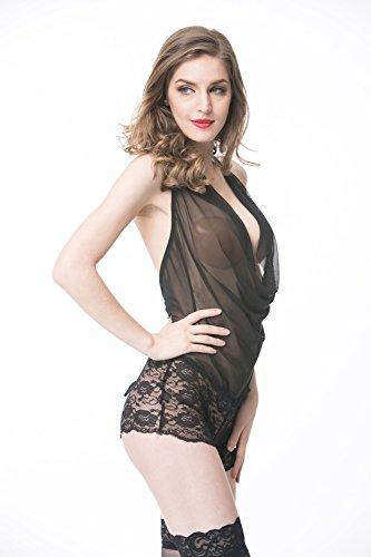 Elegante Nero Donne Semplicità di Piece Serie EB650 Prospettiva pizzo Pantaloni Shangrui abbigliamento aPYZxPq
