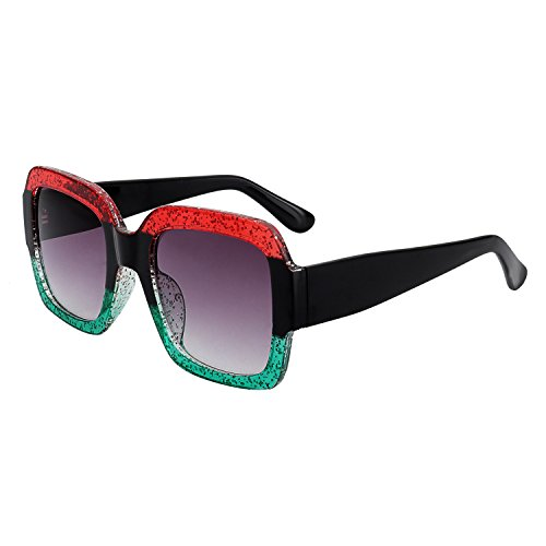 WOWSUN Vintage Square Sunglasses for Women Multi Tinted Glitter Frame Stylish red-green