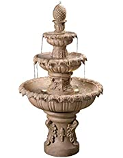 """Kenroy Home 51010SNDST Ibiza Outdoor Tiered Fountain with Lights, 45"""" H, Sandstone Finish"""