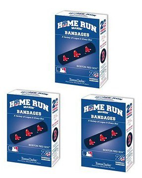 Set of 3 Boxes (60 total bandages) Home Run Brands Boston Red Sox Bandages