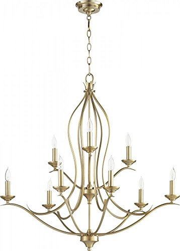 Quorum Lighting (613-9-80) Flora Transitional Chandelier in Aged Brass