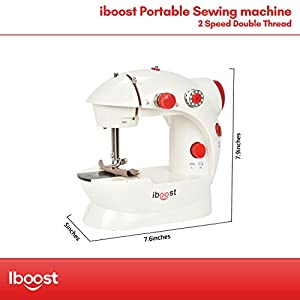 iBoost Portable Sewing Machine, Double-Thread, Cutter, and Foot Pedal, 2-Speed by Kiss International, LLC