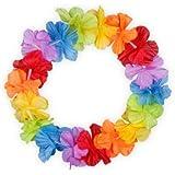 Couronne Hawaïenne elastiqué hawaien Hawaï hawaii Hula fleur pétale ambiance tropique déguisement fête beach party été plage printemps mariage anniversaire accessoire cheveux serre-tête, hawaiiketten deluxe:Rainbow 01