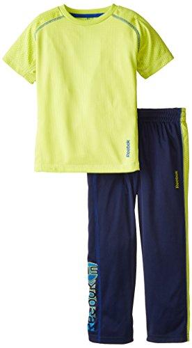 Reebok Little Boys' Performance Tee and Pant Set, Solar Yellow, 5 (Solar Performance Set)