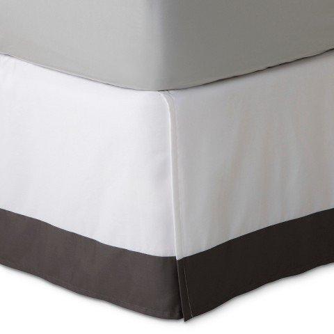 Fieldcrest Luxury Hotel White With Gray Stripe Cal-King Bedskirt