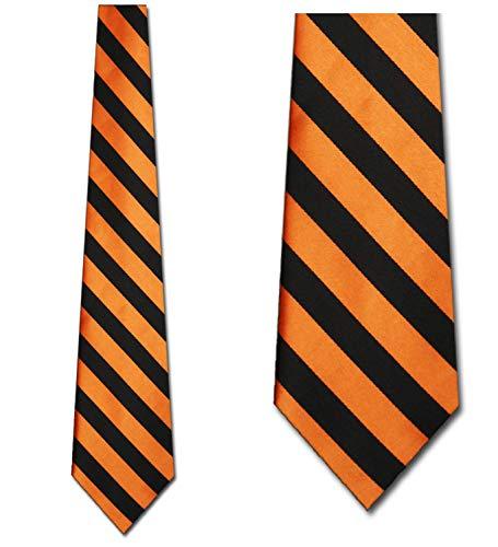 (Mens College Rep Stripe Orange and Black Striped Ties)