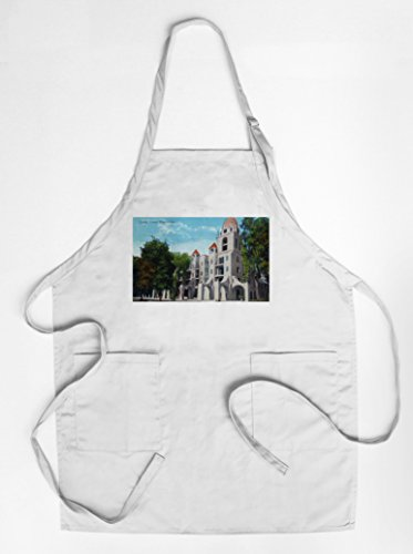 riverside-california-exterior-view-of-carmel-tower-mission-inn-quality-cotton-polyester-chefs-apron