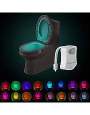 Powerole 1 stuk toiletlicht wc-nachtlampje, PIR-bewegingssensor, lichtsensor, waterdicht, led-wasruimte, 16 kleuren, nachtlampje, werkt op batterijen, voor kinderen, badkamer en thuis