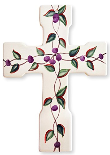 Precious Home Collection, Purple Floral Leaf, Decoation Wall Cross 10