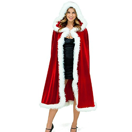 Mrs Claus Robe (Unisex Christmas Cloak, Halloween Cosplay Mrs Santa Claus Velvet Hooded Long Robe Costume Fit for Program Performance)