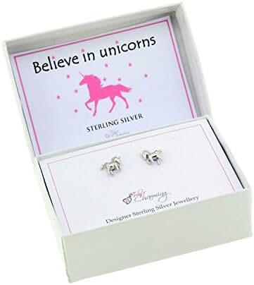 925 Sterling Silver Unicorn Stud Earrings Gift Boxed