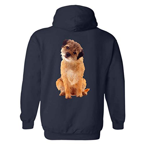 Six Crab Border Terrier Lover Hoodie Sweatshirt, Long Sleeve Hooded (M,Navy) -