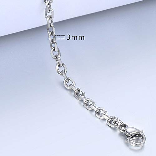 (Cable Round Chain Gold Bracelets | for Women | Men Silver, Black, Stainless Steel Braided Bracelets (2-3mm))
