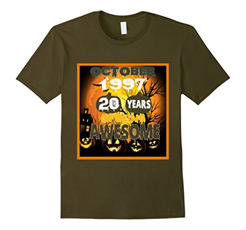 Mens October 1997 - 20th Birthday Gifts, Halloween Funny Shirt Small Olive