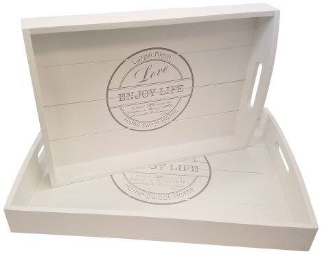 Blu Monaco Wood Serving Tray - Ottoman Tray - 2 Piece Set - with Carrying Handles – Country Rustic White Washed– SpruceBay – Organization with Style – Shabby Country Chic Design for the (Round Tray For Ottoman)