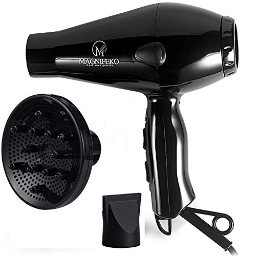 Magnifeko 1875W Professional Hair Dryer with Diffuser Ionic Conditioning - Powerful, Fast Hairdryer Blow Dryer - 2 Speeds, 3 Heat Settings (Black)