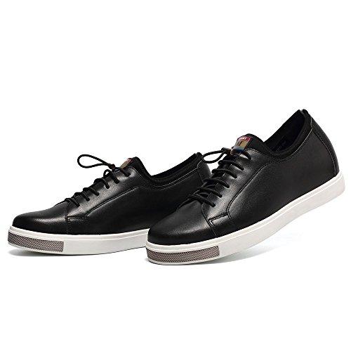 CHAMARIPA Männer Schwarz Leder Skate Schuhe Sneaker, 6 cm Erhöhen - H62C26K022D