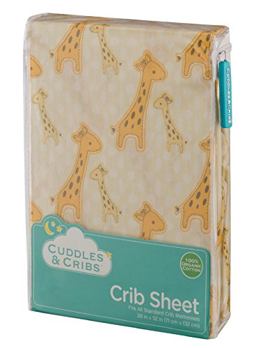 Cuddles & Cribs 1 Pack GOTS Certified Organic Cotton Fitted Crib Sheet - Yellow, Giraffe (Giraffe Yellow)