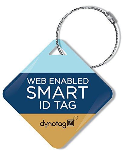 Dynotag Web Enabled Smart ID Tag, Delue Steel tag with Braid