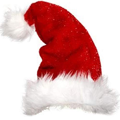 Red Glitter Santa Hat by Santa's Little Helpers, Santa Claus Costume, Premium Santa Hats for Adults-Unisex, Women, Men