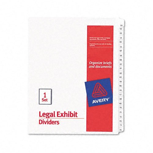 Avery : Allstate-Style Legal Side Tab Dividers, 25-Tab, 51-75, Letter, White, Set of 25 -:- Sold as 2 Packs of - 25 - / - Total of 50 Each
