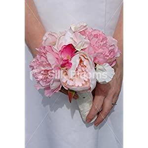 Silk Blooms Ltd Real Touch Peony & Sweetpea Bridesmaid Bouquet in Ivory & Pink 7