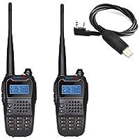 RADIOPLUS UV-K8 5W Dual Band Two Way Radio Dual Display Dual Standby Amateur Radio +1pc Programming Cable(Pack of 2)