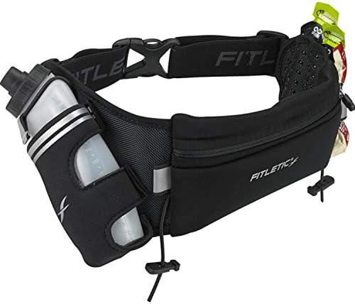 Fitletic HD12G Fully Loaded Hydration Belt Patented Bounce Free Design for Endurance, Ironman, Triathlon, 5K, 10K, Marathon, Trail Range of Sizes Colors