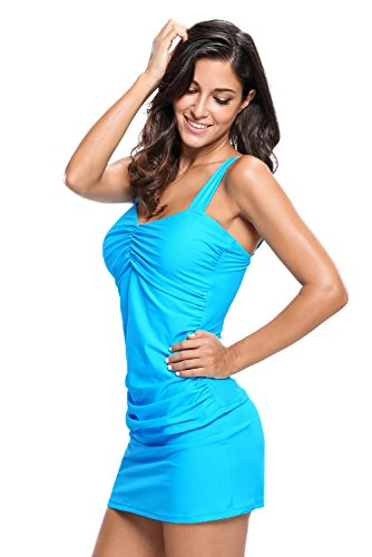 Aleumdr Women's Strapping Tankini 2pcs Skort Swimsuit Bathingsuit Blue Medium